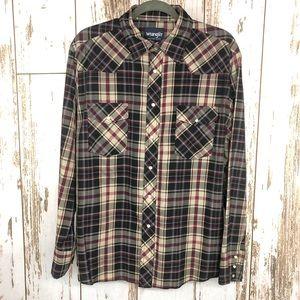 Wrangler Western Shirt, Pearl Snaps, Size Large